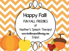 Happy Fall! Fun Fall Freebies, Worksheets, and Activities at Heather's Speech Therapy. Pinned by SOS Inc. Resources. Follow all our boards at pinterest.com/sostherapy/ for therapy resources.