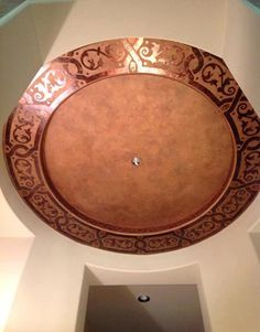 Modello® Designs Ornamental Border Stencil (OrnBor136) on gorgeous copper foil finish ceiling by Anna Sadler of Surface Refinements Inc.