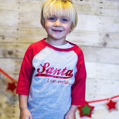 Santa I Can Explain Christmas Raglan Shirt Toddler Boy/Girl