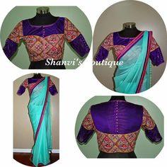 Green georgette saree with georgette gurjari trendy blouse..