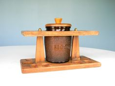 Vintage Pipe Stand Humidor Wooden Glass Duraglas by MustyMusts, $47.00