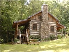 antique log cabin fireplace Little Creek Cabin - Antique Logs Rebuilt as Cozy… Old Cabins, Tiny Cabins, Log Cabin Homes, Cabins And Cottages, Cabins In The Woods, Cabins In The Mountains, Rustic Cabins, Cabin Fireplace, Casa Patio
