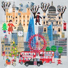 City Collage, Create Canvas, London Christmas, Paper Cutting, Cut Paper, Freelance Illustrator, Surface Pattern Design, Kids Rugs, English