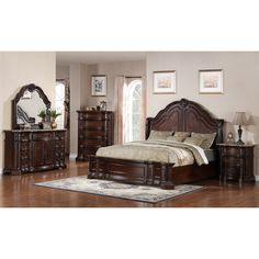 Refresh your room with this Samuel Lawrence Edington King Bedroom Set in European Cherry. The included bed, nightstand, and dresser with a mirror w Queen Bedroom Suite, King Bedroom Sets, Bedroom Furniture Sets, Furniture Decor, Bedroom Ideas, Bedroom Fun, Nice Furniture, Dream Furniture, Furniture Shopping