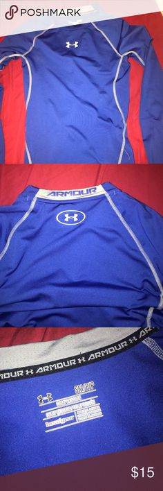 Underarmour Compression Shirt royal blue with grey stitching. underarmour Shirts