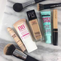 Maybelline Makeup Kit, Best Drugstore Makeup, Makeup Dupes, Skin Makeup, Best Makeup Products, Beauty Makeup, Maybelline Foundation, Beauty Products, Makeup Ideas