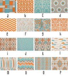Aqua and Orange Custom Crib BeddingYOU DESIGN I by NurseryDreams, $215.00