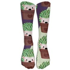 Hedgehog Animals Nylon Fun Colors Compression Knee Socks Soft Volleyball For Adults Cartoon Over Knee Long Tube Crew Socks