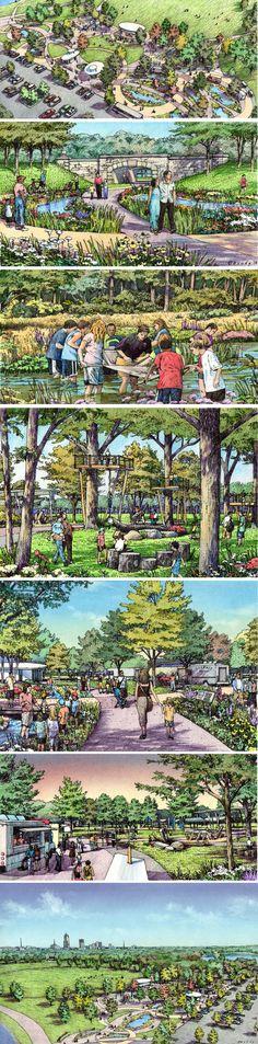 Des Moines Water Works, RDg Design & Planning. Charrette drawings by Bruce Bondy, Bondy Studio.