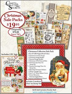 Save Over 70% on Super Sale Blowout Packs in 8 Fab Themes for $19.95 each plus $4.95 priority mail. The Christmas Sale Pack is brimming with fabulous vintage Christmas images, 2 Medium Clear Art Christmas Stamp Sets, a Frosty Memories Cream Album and a ton of great images for dressing up holiday cards and projects!