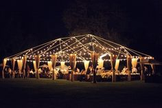 clear tent with lights