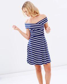 Stripe Bardot Dress by Dorothy Perkins Online | THE ICONIC | Australia