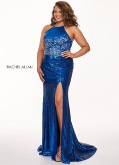Style 6699 from Rachel Allan Curves is a high collar sleeveless sequin plus size prom dress with embellished bodice and open strappy back.