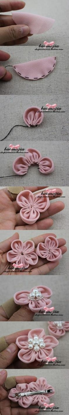 Cute and easy DIY fabric flower pins by keaw