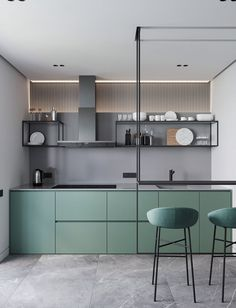 Modern Kitchen Interior Modern Minimalist Apartment Designs Under 75 Square Meters - Bold design choices shine in these compact spaces that showcase the power of choosing a palette and the creative challenge of a smaller footprint. Home Interior, Interior Design Kitchen, Modern Interior Design, Apartment Interior, Bathroom Interior, Luxury Interior, Modern Ceiling Design, Green Apartment, Modern Apartment Design