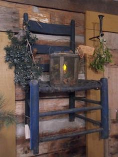 For the living room Old Prim Chair.hanging on the cabin wall.with a rustic lantern. Primitive Homes, Primitive Crafts, Primitive Christmas, Country Primitive, Cabin Christmas, Prim Decor, Country Decor, Rustic Decor, Country Homes