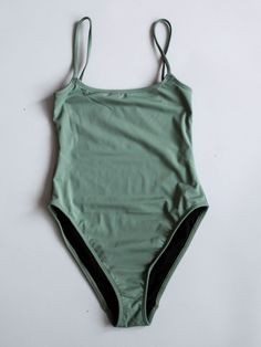 NU SWIM - Curve Straight One Piece Swimsuit - Mineral Green