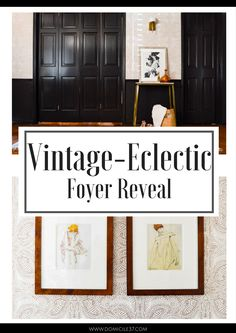 Foyer makeover using Andanza wallpaper by Hygge & West from Wallpaper Boulevard | DIY Calendar Art by Egon Schiele | Moody Black Foyer