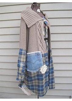 Upcycled-Med-Lg-Blue-Lagenlook-Pearl-crochet-Magnolia-Bird-flannel-Boho-Jacket