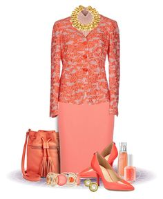 """""""Coral Set with Armani Jacket"""" by franceseattle ❤ liked on Polyvore featuring FOSSIL, Diesel Black Gold, Armani Collezioni, MICHAEL Michael Kors, Givenchy, Essie, New Directions and Chanel"""