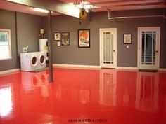 Basement, Red Epoxy Basement Floor Paint Ideas The Best Basement Floor Paint Concrete Basement Floor Paint Cement Floor Paint Garage Floor Paint Epoxy Basement With Gray Color Wall: The Best Basement Floor Paint With Some Color Floor And Epoxy Floor Room Epoxy Basement Floor Paint, Concrete Basement Floors, Painting Basement Floors, Basement Flooring Options, Garage Floor Paint, Basement Laundry, Laundry Room, Garage Epoxy, Garage Walls