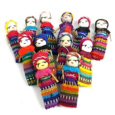 A dozen Worry Dolls to help you sleep at night! There is a legend among the highland Indian villages of Guatemala: If you have a problem, share it with a Worry Doll! Before going to bed, tell one worr