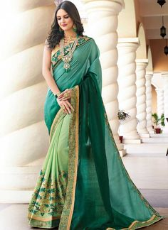 Online Shopping of Esha Gupta Border Work And Blouse With Georgette Silk Dark Green Color Function Wear Saree from SareesBazaar, leading online ethnic clothing store offering latest collection of sarees, salwar suits, lehengas & kurtis Latest Indian Saree, Indian Sarees Online, Buy Sarees Online, Blouse Online, Party Wear Sarees Online, Indian Party Wear, Green Saree, Bridal Lehenga Choli, Green Silk