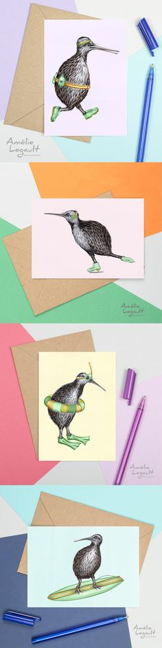 The funniest kiwi bird cards! Kiwi Bird, Feather Art, Canadian Art, Bird Cards, Pebble Painting, Winter Cards, Funny Cards, Cool Cards, Anniversary Cards