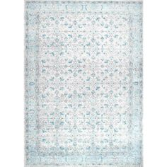 Create a fine addition to your room floor by choosing this nuLOOM Vintage Lindy Aqua Area Rug. Prevent shifting for added durability. Aqua Rug, Aqua Area Rug, Light Blue Area Rug, Motif Floral, Floral Rug, Grey Rugs, Beige Area Rugs, Blue Rugs, Indoor Rugs