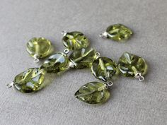 Handmade Glass Lampwork Beads Leaves - Set of 7 Leaf Lampwork Beads #artisan #Lampwork
