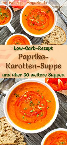 Low Carb Paprika-Karotten-Suppe – gesundes, einfaches Rezept Light pepper and carrot soup: Vegetarian low-carb recipe for a vegan, healthy, low-calorie soup for weight loss. Simple, quick and super tasty … Low Carb Vegetarian Recipes, Easy Healthy Recipes, Easy Meals, Simple Meals, Vegetarian Dinners, Vegan Vegetarian, Vegan Recipes, Carrots Healthy, Healthy Soup