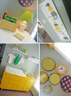 I think this might be the color scheme we go for in his big boy room! Yellow, gray (walls are already gray) and either blue or green!