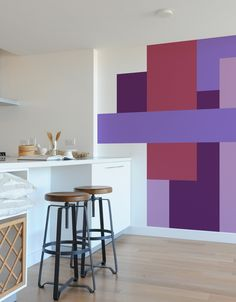 Color Block Parallel wall decals by Mina Javid use color and crisp geometry to change the perception of your space. Dramatically change a space and transform the feeling of a room through the use of b