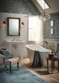 Heritage Bathrooms Blenheim console basin with Holywell freestanding bath. - Consider stealing the look for your dream master bathroom. If you're looking for the latest trends or perhaps some inspiration to get you started, visit your local showroom to be inspired.