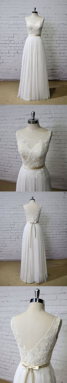 Long Aline Scoop V Back Lace Simple Pretty Beach Summer Tulle Wedding Dresses, WD0201 The wedding dresses are fully lined, 4 bones in the bodice, chest pad in the bust, lace up back or zipper back are