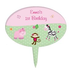 Get a Baby Girl cake topper from Zazzle. Shop for your cake topper now! Baby Girl Cakes, Personalized Cake Toppers, Jungle Animals, Baby Shower Invitations, Thank You Cards, Party Favors, Safari, Birthday Parties, Pink