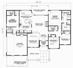 Tuscan Style House Plans - 2075 Square Foot Home , 1 Story, 4 Bedroom and 3 Bath, 2 Garage Stalls by Monster House Plans - Plan 12-886 - not a fan of the outside, but I like this layout!
