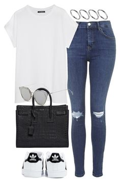 """""""Untitled #1195"""" by breannaflorence ❤ liked on Polyvore featuring ASOS, Topshop, Balmain, adidas, Yves Saint Laurent and GANT"""