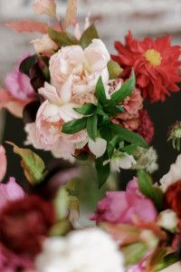 Bridal  bouquet with shades of pink and red.