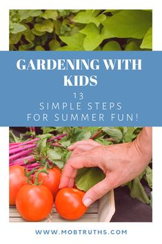 Gardening with kids can be a fun projects to do with your kids on those the spring and summer days. learning how to garden is a great activity for young children to do! Here are 13 simple steps for some summer fun in the dirt. Rainy Day Activities, Kids Learning Activities, Summer Activities For Kids, Indoor Activities, Summer Days, Summer Fun, Mothers Of Boys, Gardening For Beginners, Gardening Hacks