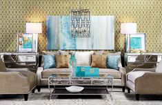 Cozy transitional living room with teal and gold accents and grey velvet sofa. Art Deco Living Room, Living Room Furniture, Blue Gray Bedroom, Sofa Design, Interior Design, Transitional Living Rooms, Home Decor Bedroom, Teal Art, Luxury Living