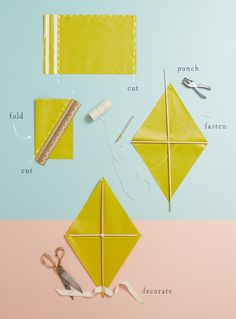 Cut t right & bottom sides of mailer  2) Fold in half  3) Use ruler to draw a diagonal line, then cut away t excess.  Open up for t kite body  4) Place your dowels in a cross shape & use string to fasten & knot together at t center of t cross.  Cut off t excess string  5) Punch holes at all four corners & insert t ends of dowels into holes.  6) Add a tail!  They used ribbon handles of a shopping bag   7) Decorate - Follow same direc for tissue or shopping bags  etc Easter Crafts For Kids, Summer Crafts, Diy For Kids, Homemade Kites, Kite Party, Kites Craft, Kites For Kids, Kite Making, March Themes
