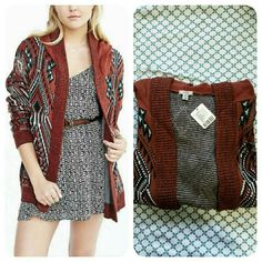 HP | Urban Outfitters | Patterned Knit Cardigan Deep red/brown knit cardigan with unique boho pattern and hood. Ribbed open front, cuffs, and hem. Dolman sleeves and relaxed fit. Soft and comfy. Brand is Ecote from UO.  No trades. Urban Outfitters Sweaters Cardigans