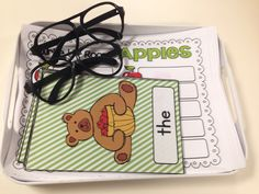 """Great literacy center that gets students up and moving! APPLE theme is great for September!  Kids love wearing the """"reading"""" glasses!"""