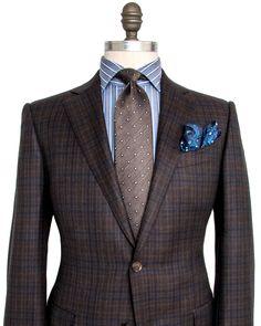 Ermenegildo Zegna Chocolate and Navy Plaid Sportcoat 2 button jacket Notch…