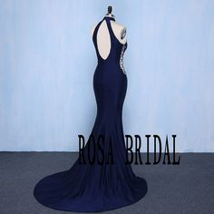 Navy High Neck Backless Mermaid Prom Dress Evening by rosabridal