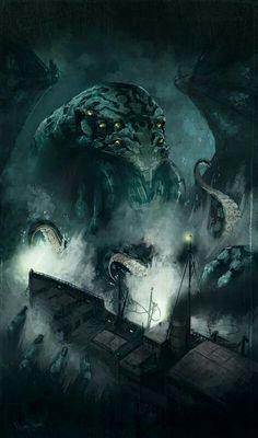 "Cthulhu y el ""Alert"". Por N Stohlman Hp Lovecraft, Lovecraft Cthulhu, Cthulhu Art, Call Of Cthulhu, Fantasy Creatures, Mythical Creatures, Dark Fantasy, Fantasy Art, Yog Sothoth"
