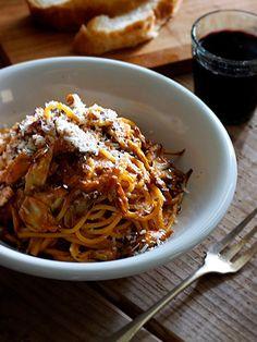 Tomato cream of crab baked mushroom Mai Spaghetti
