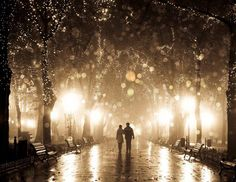 Couple Walking At Alley In Night Lights by Vladimir Nikulin - http://on.fb.me/KQL7F6