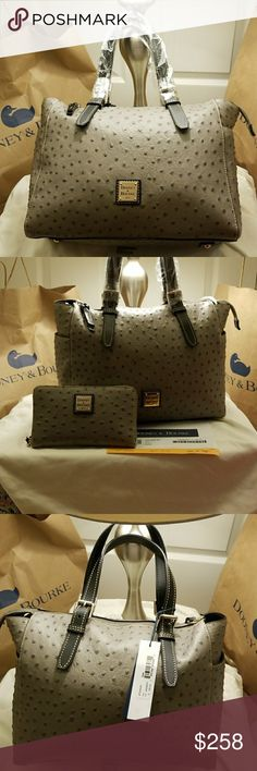 """NWT Dooney & Bourke Ostrich Ryder Satchel Oh La La what a gorgeous and elegant bag. This listing is for the grey Ostrich Ryder satchel ONLY. Clutch wallet is listed separately.   Well structured bag in an ostrich print, no longer available. Measurements H 10"""" x W 6"""" x L 12.5"""" One inside zip pocket. Two inside pockets. Cell phone pocket. Inside key hook. Detachable strap. Strap drop length 27"""". Handle drop length 6"""".  Make me a reasonable offer 👜👜👜 Dooney & Bourke Bags"""